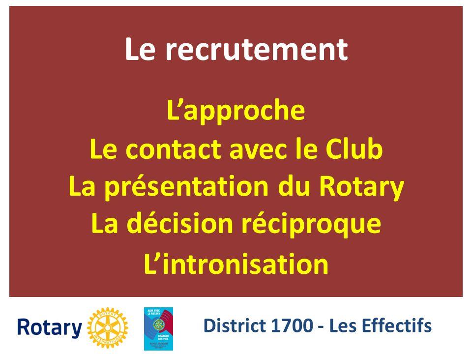 Le recrutement Lapproche Le contact avec le Club La présentation du Rotary La décision réciproque Lintronisation District 1700 - Les Effectifs