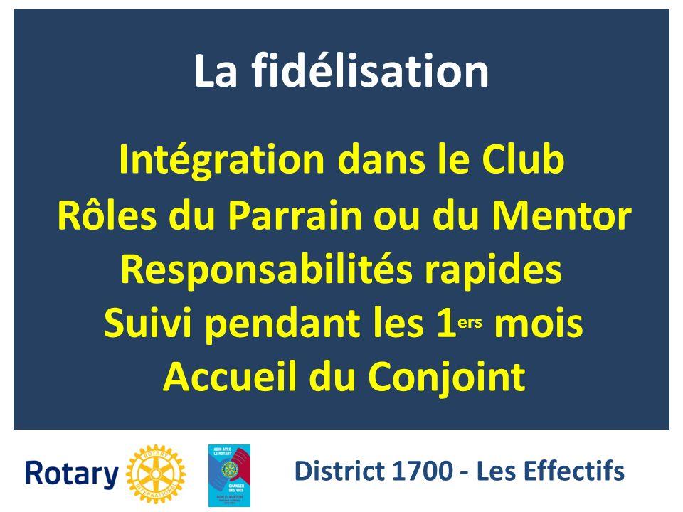 La fidélisation Intégration dans le Club Rôles du Parrain ou du Mentor Responsabilités rapides Suivi pendant les 1 ers mois District 1700 - Les Effect