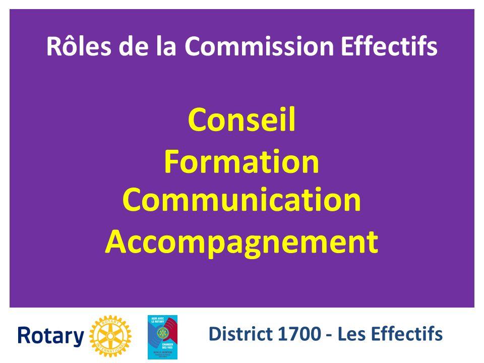Rôles de la Commission Effectifs Formation Accompagnement Communication Conseil District 1700 - Les Effectifs