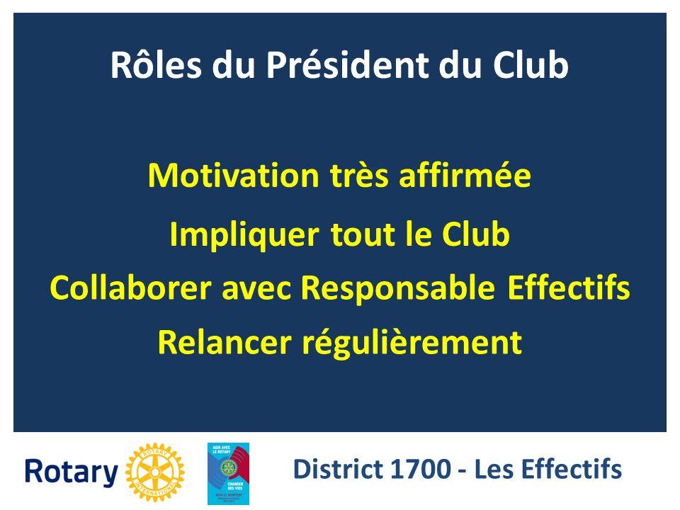 Rôles du Président du Club Impliquer tout le Club Collaborer avec Responsable Effectifs Motivation très affirmée District 1700 - Les Effectifs Relance