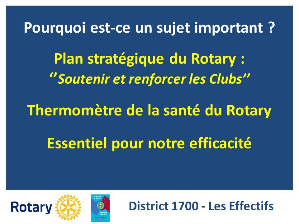 Pourquoi est-ce un sujet important ? Plan stratégique du Rotary : Soutenir et renforcer les Clubs Thermomètre de la santé du Rotary Essentiel pour not