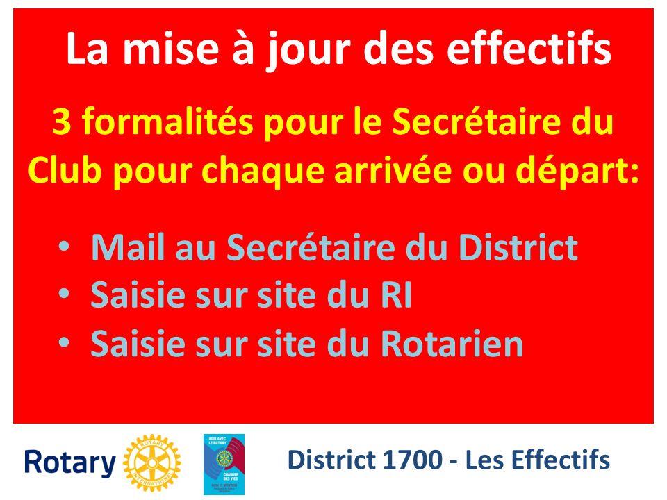 La mise à jour des effectifs District 1700 - Les Effectifs 3 formalités pour le Secrétaire du Club pour chaque arrivée ou départ: Mail au Secrétaire d