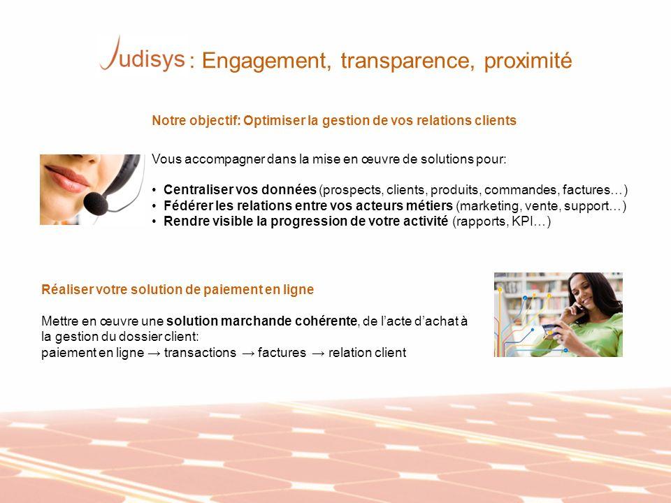 Notre objectif: Optimiser la gestion de vos relations clients Vous accompagner dans la mise en œuvre de solutions pour: Centraliser vos données (prosp