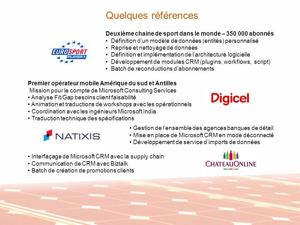 Quelques références Deuxième chaine de sport dans le monde – 350 000 abonnés Définition dun modèle de données (entités) personnalisé Reprise et nettoy