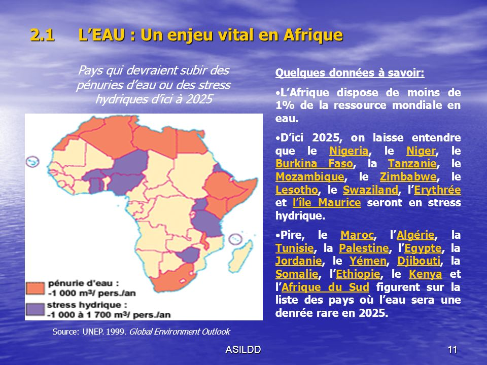 ASILDD11 2.1LEAU : Un enjeu vital en Afrique Pays qui devraient subir des pénuries deau ou des stress hydriques dici à 2025 Source: UNEP.