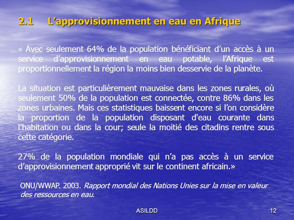 ASILDD12 2.1Lapprovisionnement en eau en Afrique « Avec seulement 64% de la population bénéficiant dun accès à un service dapprovisionnement en eau potable, lAfrique est proportionnellement la région la moins bien desservie de la planète.