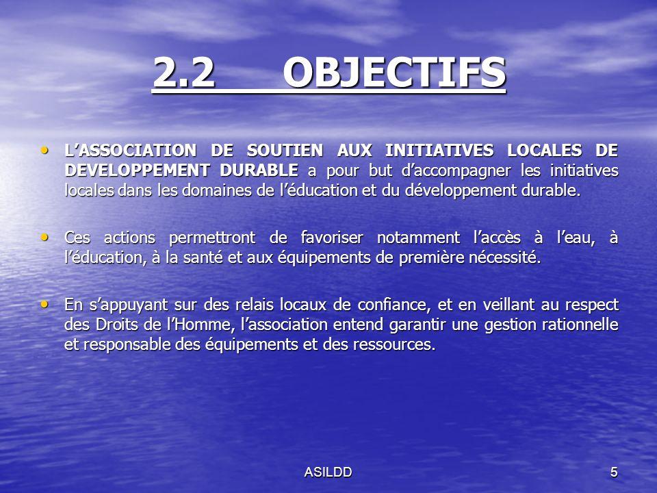 2.2OBJECTIFS LASSOCIATION DE SOUTIEN AUX INITIATIVES LOCALES DE DEVELOPPEMENT DURABLE a pour but daccompagner les initiatives locales dans les domaines de léducation et du développement durable.