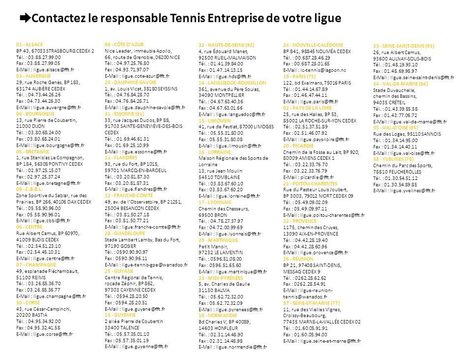 Contactez le responsable Tennis Entreprise de votre ligue 01 - ALSACE BP 43, 67033 STRASBOURG CEDEX 2 Tél. : 03.88.27.99.00 Fax : 03.88.27.99.05 E-Mai