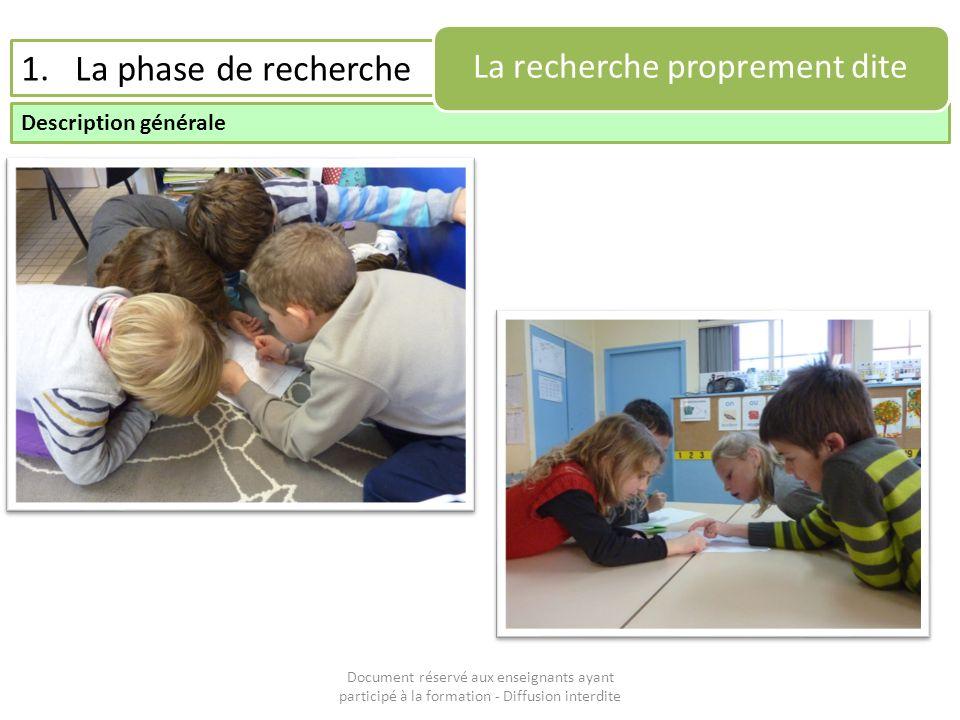 Document réservé aux enseignants ayant participé à la formation - Diffusion interdite 1.La phase de recherche Description générale La recherche propre