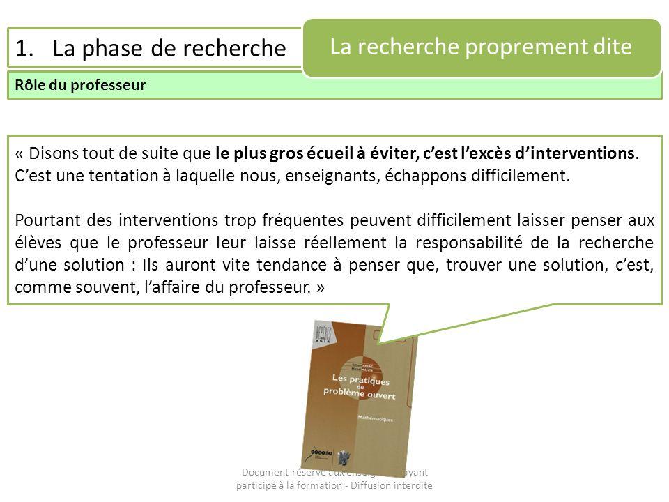 Document réservé aux enseignants ayant participé à la formation - Diffusion interdite 1.La phase de recherche Rôle du professeur La recherche propreme