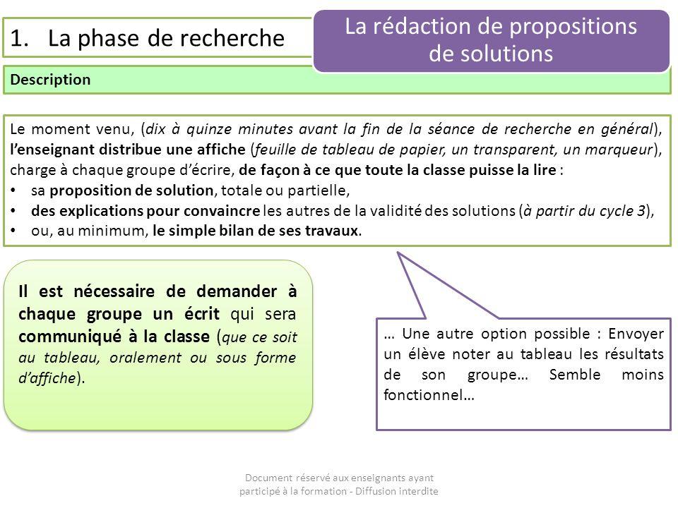 Document réservé aux enseignants ayant participé à la formation - Diffusion interdite 1.La phase de recherche Description La rédaction de propositions