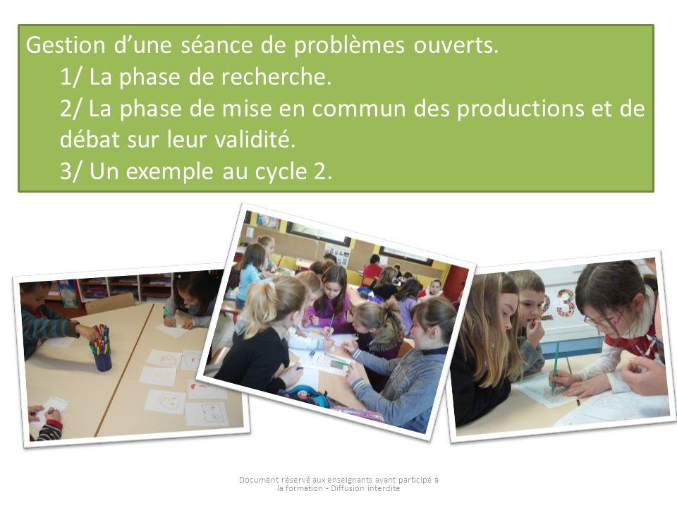 Document réservé aux enseignants ayant participé à la formation - Diffusion interdite Gestion dune séance de problèmes ouverts. 1/ La phase de recherc