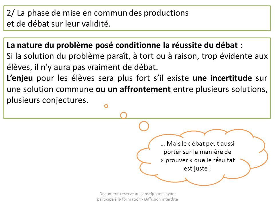 Document réservé aux enseignants ayant participé à la formation - Diffusion interdite 2/ La phase de mise en commun des productions et de débat sur le