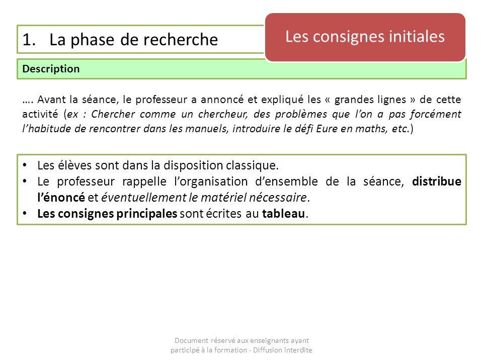 Document réservé aux enseignants ayant participé à la formation - Diffusion interdite 1.La phase de recherche Description Les consignes initiales …. A