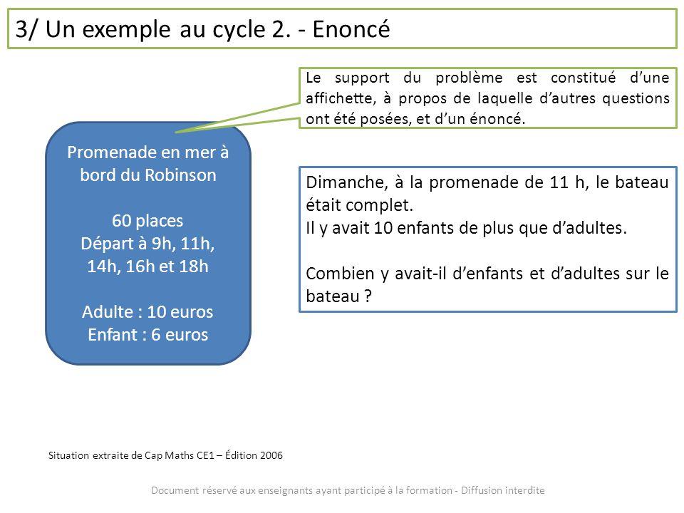 Document réservé aux enseignants ayant participé à la formation - Diffusion interdite 3/ Un exemple au cycle 2. - Enoncé Promenade en mer à bord du Ro