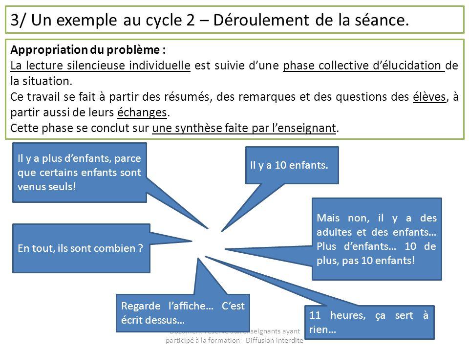 Document réservé aux enseignants ayant participé à la formation - Diffusion interdite 3/ Un exemple au cycle 2 – Déroulement de la séance. Appropriati