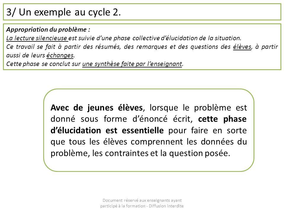 Document réservé aux enseignants ayant participé à la formation - Diffusion interdite 3/ Un exemple au cycle 2. Appropriation du problème : La lecture