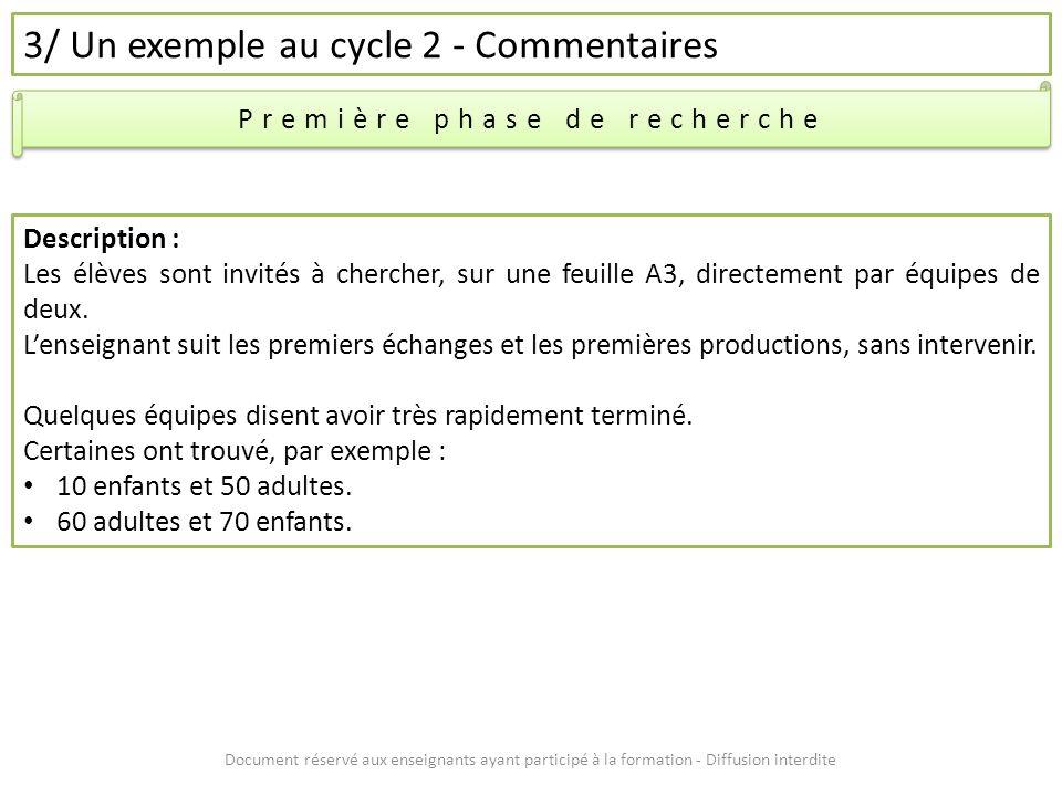 Document réservé aux enseignants ayant participé à la formation - Diffusion interdite 3/ Un exemple au cycle 2 - Commentaires Première phase de recher