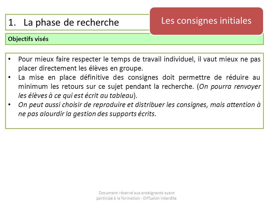 Document réservé aux enseignants ayant participé à la formation - Diffusion interdite 1.La phase de recherche Objectifs visés Les consignes initiales