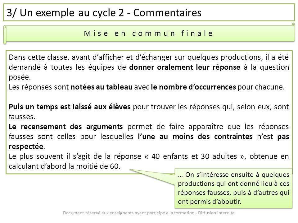 Document réservé aux enseignants ayant participé à la formation - Diffusion interdite 3/ Un exemple au cycle 2 - Commentaires Mise en commun finale Da