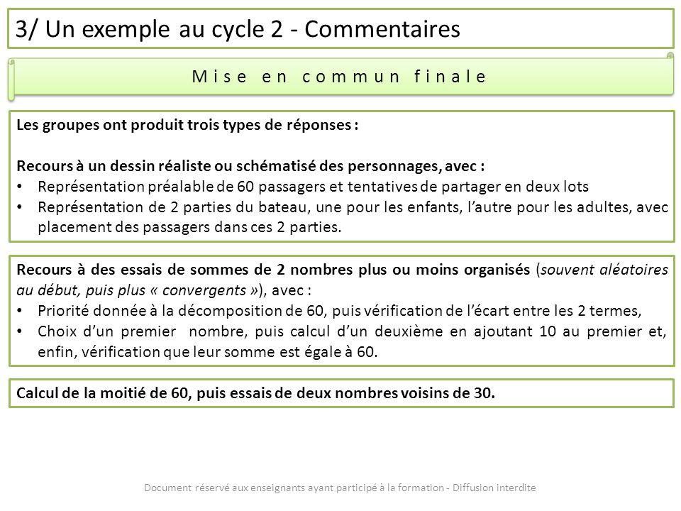 Document réservé aux enseignants ayant participé à la formation - Diffusion interdite 3/ Un exemple au cycle 2 - Commentaires Mise en commun finale Le