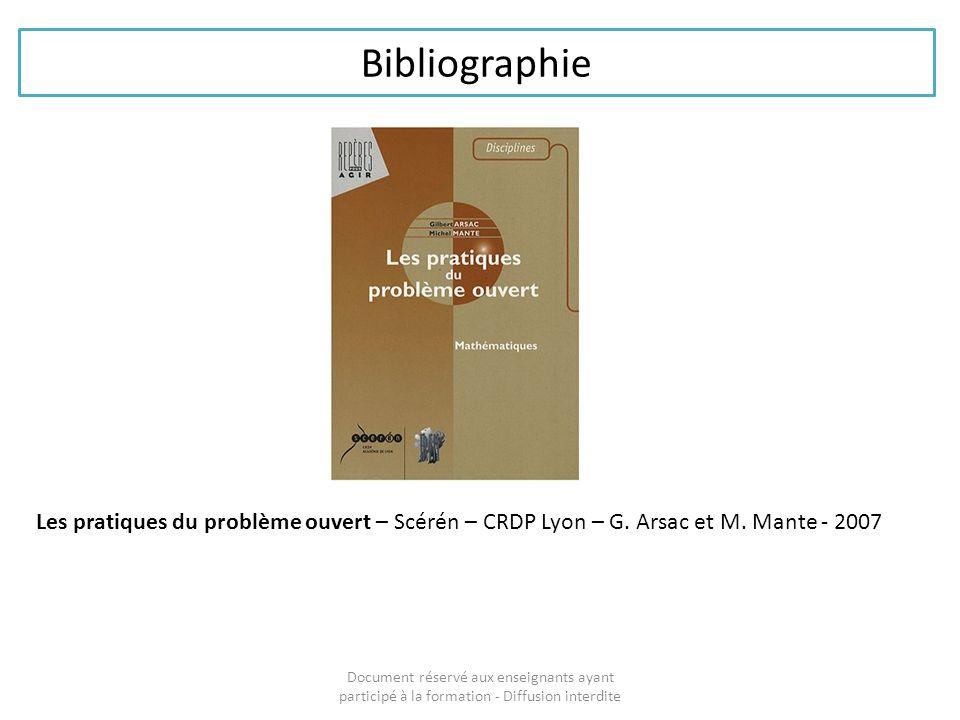 Bibliographie Document réservé aux enseignants ayant participé à la formation - Diffusion interdite Les pratiques du problème ouvert – Scérén – CRDP L