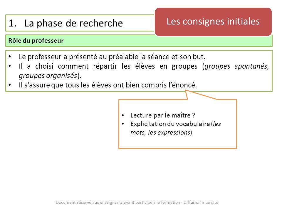 Document réservé aux enseignants ayant participé à la formation - Diffusion interdite 1.La phase de recherche Description générale La recherche proprement dite