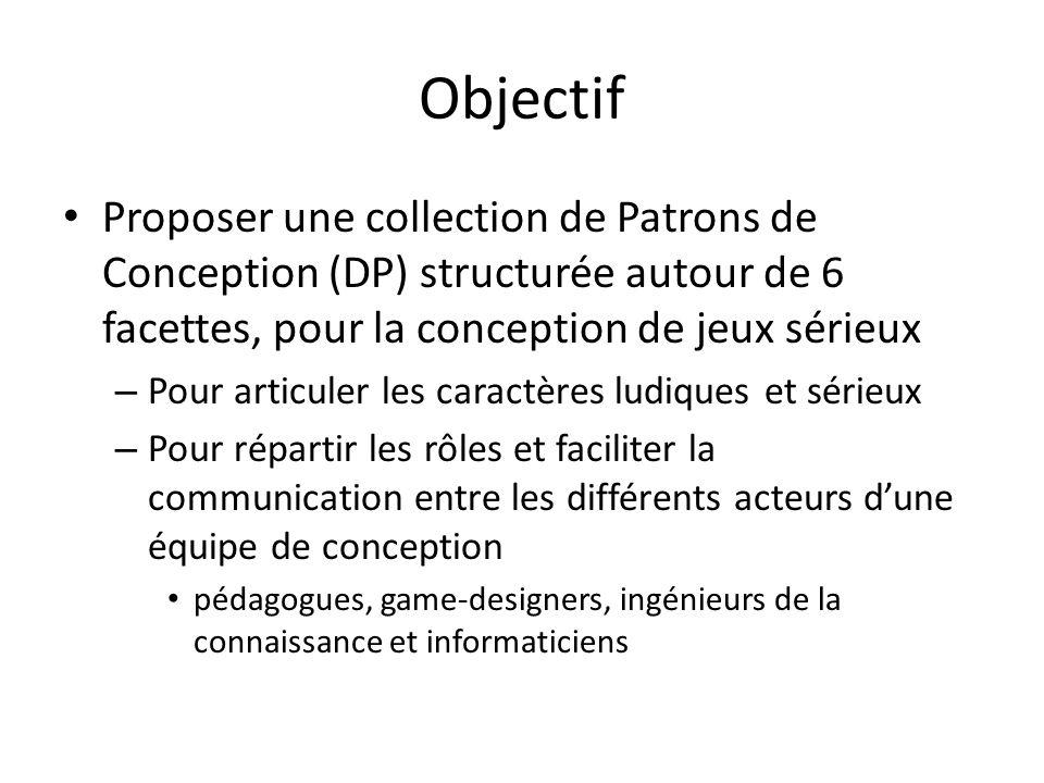Objectif Proposer une collection de Patrons de Conception (DP) structurée autour de 6 facettes, pour la conception de jeux sérieux – Pour articuler le