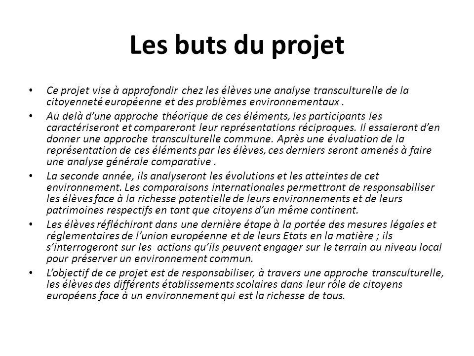Les buts du projet Ce projet vise à approfondir chez les élèves une analyse transculturelle de la citoyenneté européenne et des problèmes environnementaux.