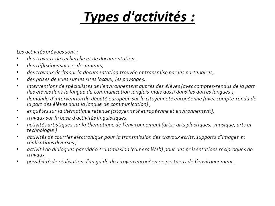 Types d activités : Les activités prévues sont : des travaux de recherche et de documentation, des réflexions sur ces documents, des travaux écrits sur la documentation trouvée et transmise par les partenaires, des prises de vues sur les sites locaux, les paysages..