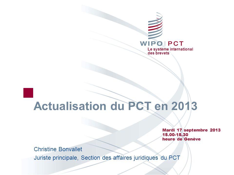 Le système international des brevets Webinaire-32 17.09.2013 32 Formations disponibles sur le PCT http://www.wipo.int/pct/fr/ Cours denseignement à distance sur le PCT disponible dans les 10 langues de publication Webinaires sur le PCT Sessions dactualisation gratuites sur les développements des procédures du PCT Disponibles sur demande pour les entreprises et les cabinets de mandataires/avocats Séminaires et formations sur le PCT, sur site Séminaire avancé sur le PCT qui a lieu à lOMPI en octobre 2013