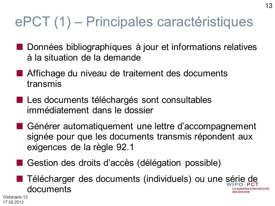 Le système international des brevets Webinaire-13 17.09.2013 ePCT (1) – Principales caractéristiques Données bibliographiques à jour et informations r