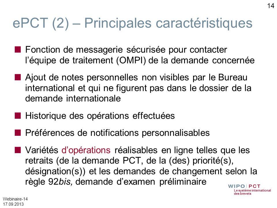 Le système international des brevets Webinaire-14 17.09.2013 ePCT (2) – Principales caractéristiques Fonction de messagerie sécurisée pour contacter l