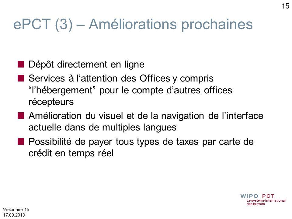 Le système international des brevets Webinaire-15 17.09.2013 ePCT (3) – Améliorations prochaines Dépôt directement en ligne Services à lattention des