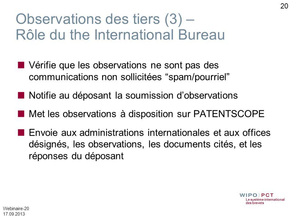 Le système international des brevets Webinaire-20 17.09.2013 Observations des tiers (3) – Rôle du the International Bureau Vérifie que les observation
