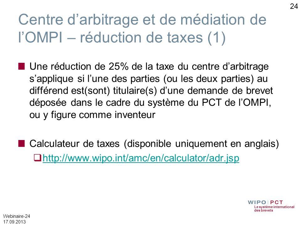 Le système international des brevets Webinaire-24 17.09.2013 24 Centre darbitrage et de médiation de lOMPI – réduction de taxes (1) Une réduction de 2