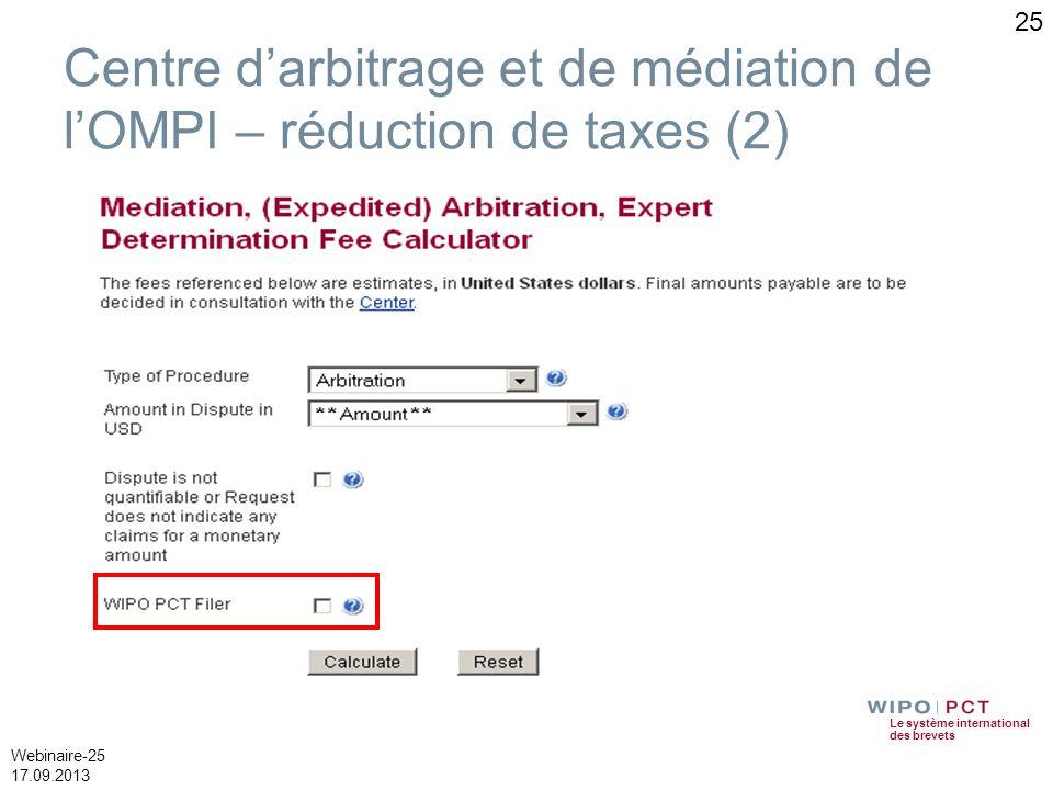 Le système international des brevets Webinaire-25 17.09.2013 25 Centre darbitrage et de médiation de lOMPI – réduction de taxes (2)