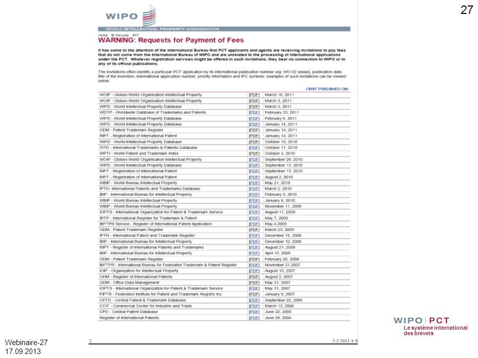 Le système international des brevets Webinaire-27 17.09.2013 27