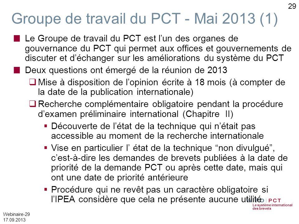 Le système international des brevets Webinaire-29 17.09.2013 29 Groupe de travail du PCT - Mai 2013 (1) Le Groupe de travail du PCT est lun des organe