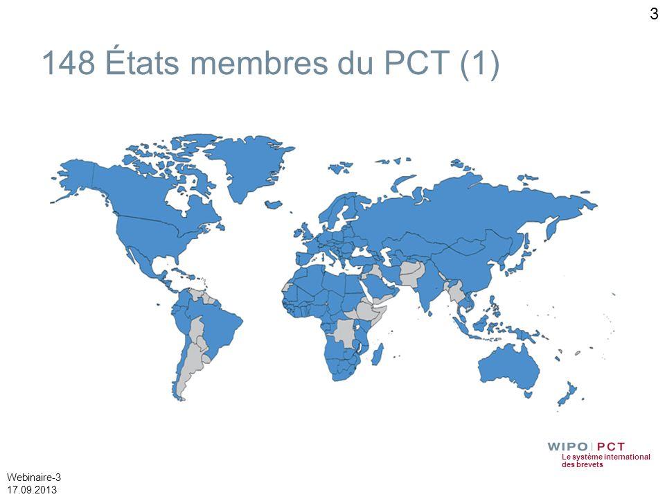 Le système international des brevets Webinaire-14 17.09.2013 ePCT (2) – Principales caractéristiques Fonction de messagerie sécurisée pour contacter léquipe de traitement (OMPI) de la demande concernée Ajout de notes personnelles non visibles par le Bureau international et qui ne figurent pas dans le dossier de la demande internationale Historique des opérations effectuées Préférences de notifications personnalisables Variétés dopérations réalisables en ligne telles que les retraits (de la demande PCT, de la (des) priorité(s), désignation(s)) et les demandes de changement selon la règle 92bis, demande dexamen préliminaire 14