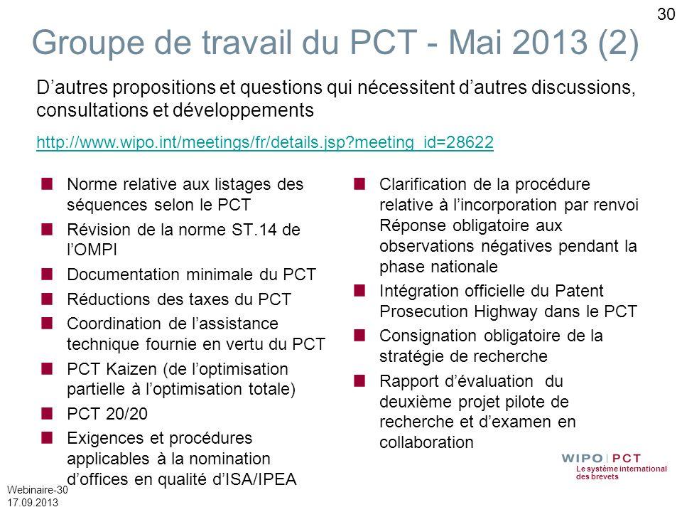 Le système international des brevets Webinaire-30 17.09.2013 30 Norme relative aux listages des séquences selon le PCT Révision de la norme ST.14 de l
