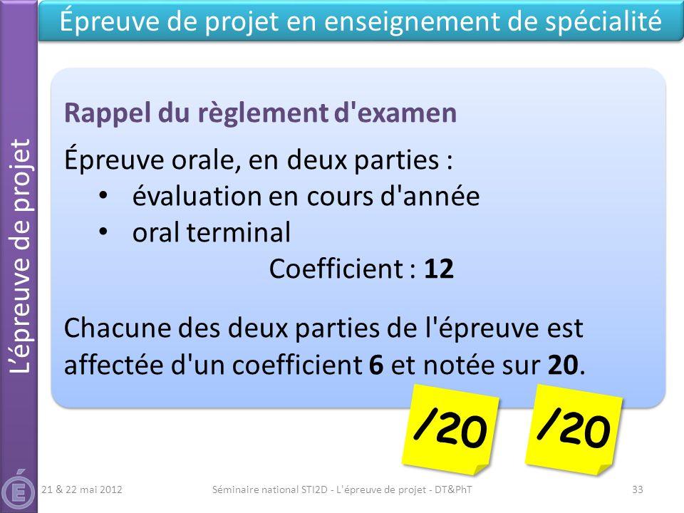 Séminaire national STI2D - L'épreuve de projet - DT&PhT33 Lépreuve de projet Épreuve de projet en enseignement de spécialité Rappel du règlement d'exa