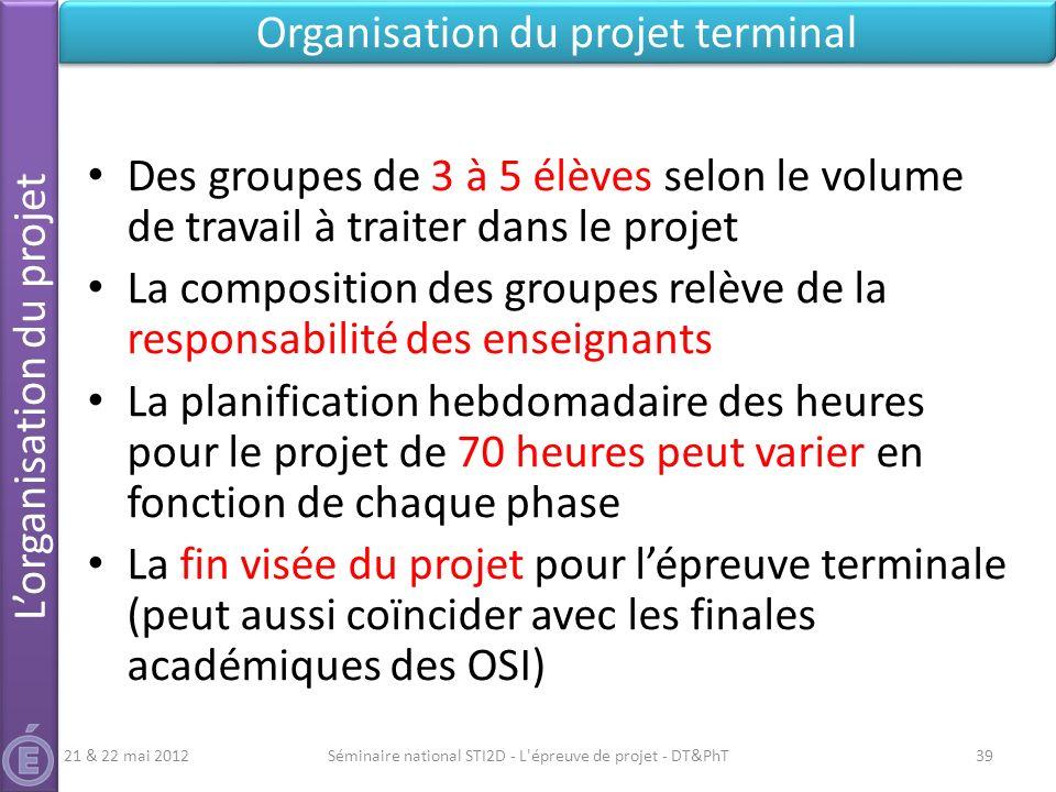 Séminaire national STI2D - L'épreuve de projet - DT&PhT39 Lorganisation du projet Organisation du projet terminal Des groupes de 3 à 5 élèves selon le