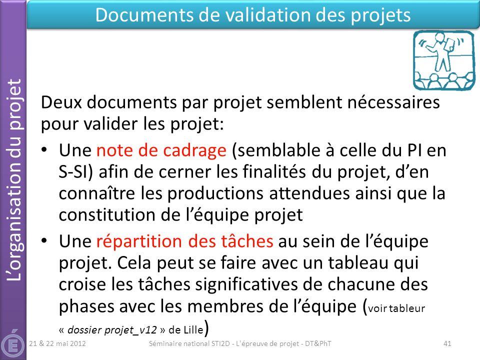 Séminaire national STI2D - L'épreuve de projet - DT&PhT41 Documents de validation des projets 21 & 22 mai 2012 Deux documents par projet semblent néce