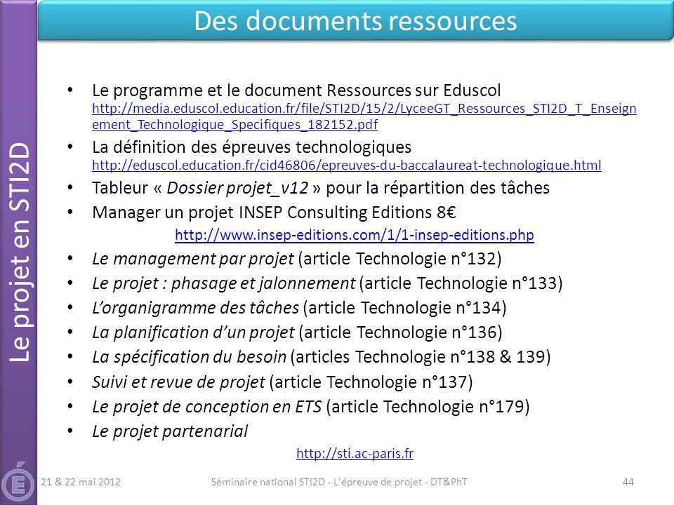 Le programme et le document Ressources sur Eduscol http://media.eduscol.education.fr/file/STI2D/15/2/LyceeGT_Ressources_STI2D_T_Enseign ement_Technolo
