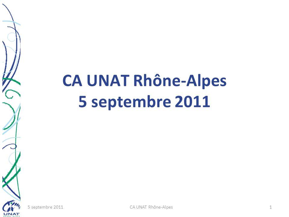 CA UNAT Rhône-Alpes 5 septembre 2011 5 septembre 2011CA UNAT Rhône-Alpes1
