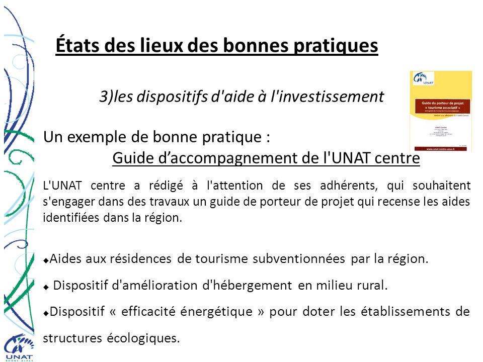 États des lieux des bonnes pratiques 3)les dispositifs d'aide à l'investissement Un exemple de bonne pratique : Guide daccompagnement de l'UNAT centre