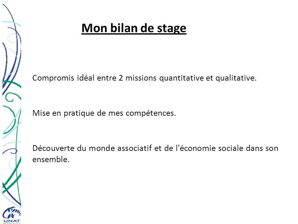 Mon bilan de stage Compromis idéal entre 2 missions quantitative et qualitative. Mise en pratique de mes compétences. Découverte du monde associatif e