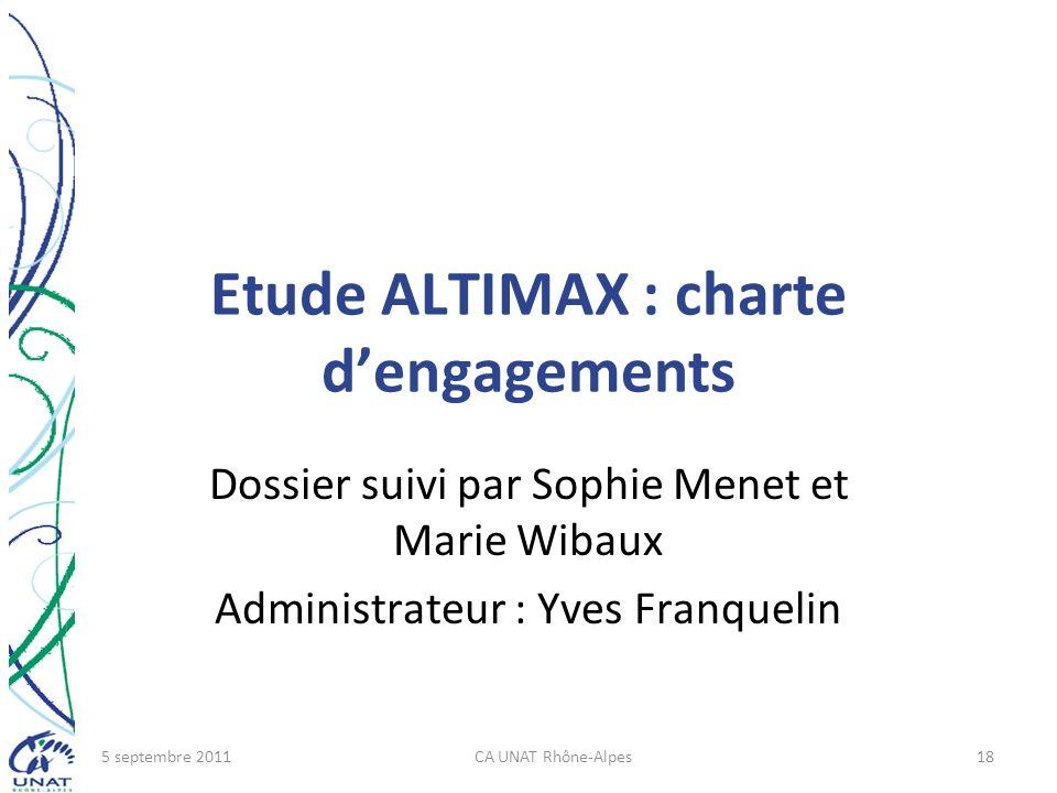 Etude ALTIMAX : charte dengagements Dossier suivi par Sophie Menet et Marie Wibaux Administrateur : Yves Franquelin 5 septembre 2011CA UNAT Rhône-Alpe