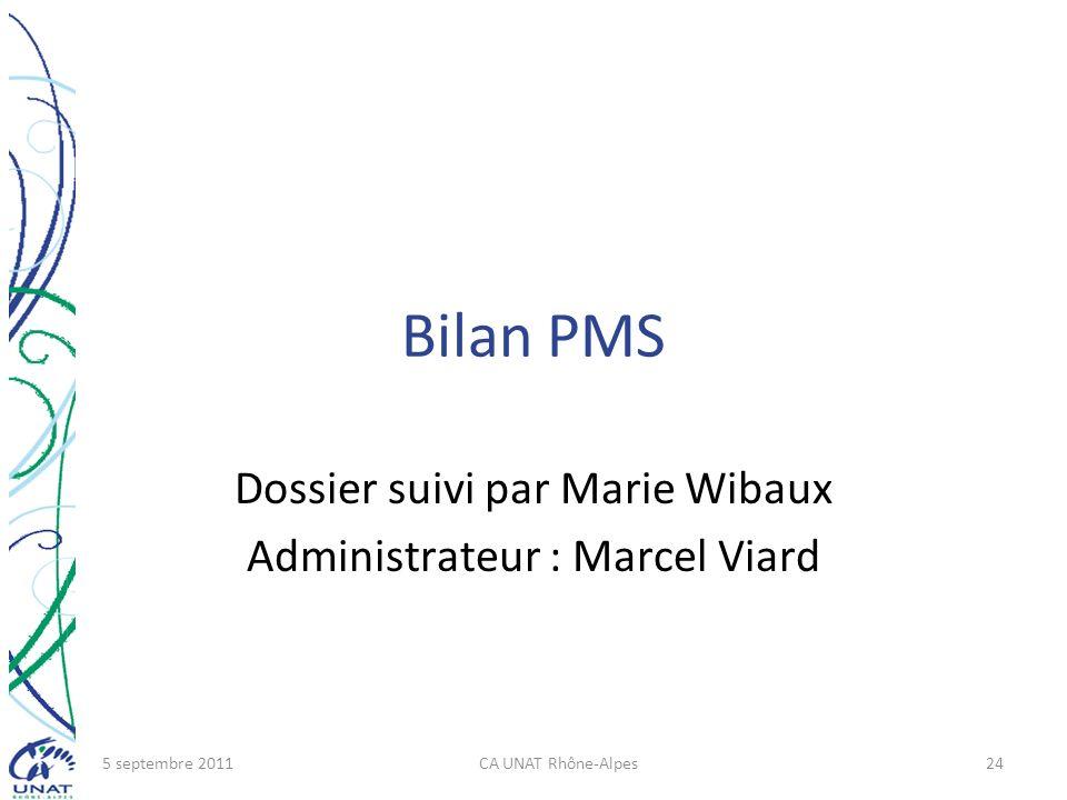 Bilan PMS Dossier suivi par Marie Wibaux Administrateur : Marcel Viard 5 septembre 2011CA UNAT Rhône-Alpes24